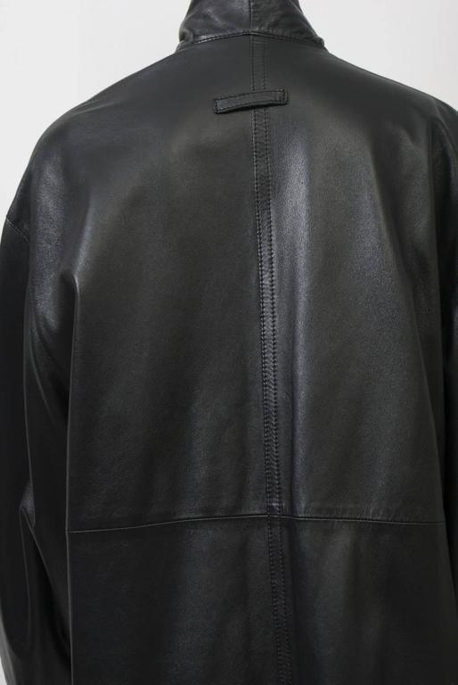 Gaultier Black Leather Coat For Sale 2