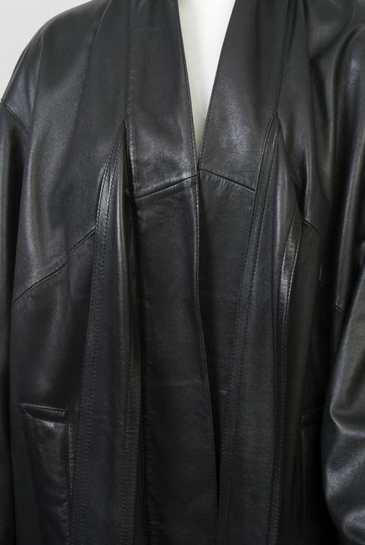 Gaultier Black Leather Coat For Sale 4
