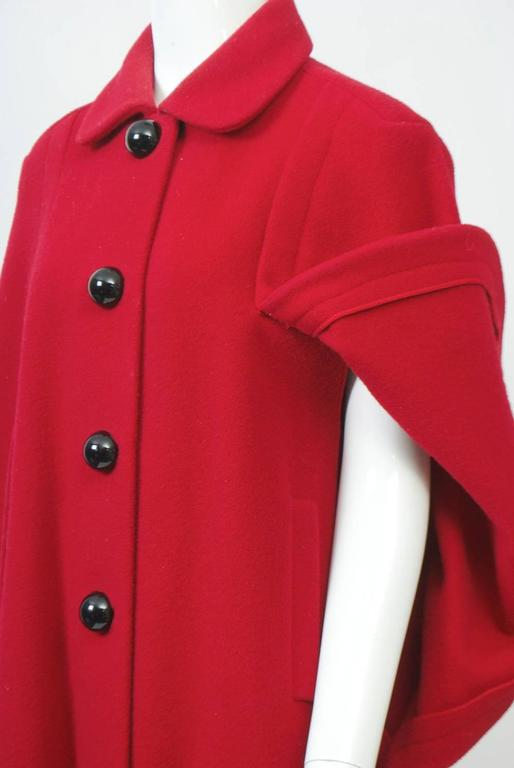Adolfo Red Cape Coat For Sale 1