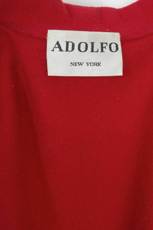 Adolfo Red Cape Coat For Sale 4