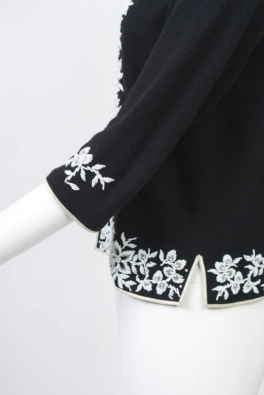 Women's Black Cadigan with White Beading For Sale