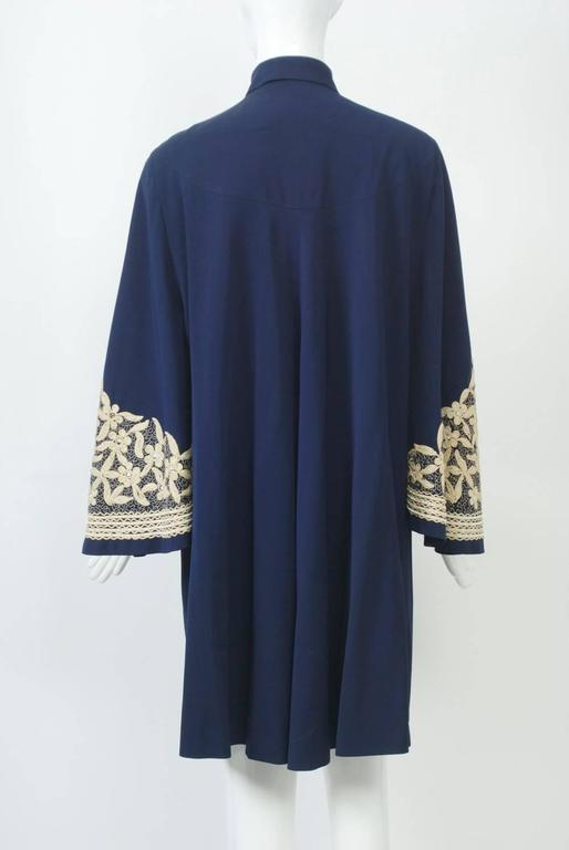 Black 1940s Embroidered Coat For Sale