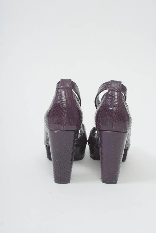 Clergerie Plum Snake Platform Shoes In Excellent Condition For Sale In Alford, MA