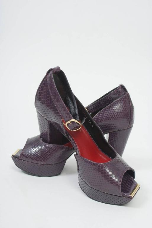 Women's Clergerie Plum Snake Platform Shoes For Sale