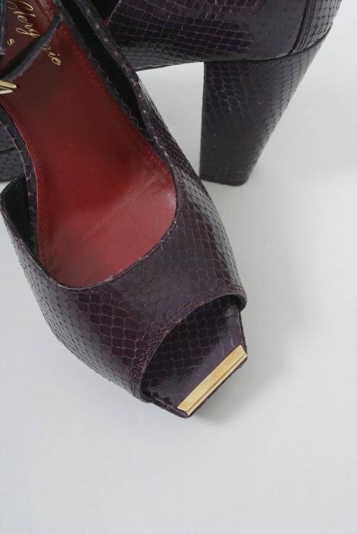 Clergerie Plum Snake Platform Shoes For Sale 3