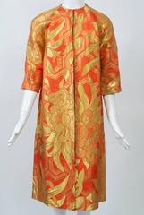 Orange and Gold Reversible Brocade Coat