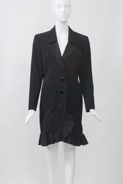 YSL Black Coat Dress with Ruffle In Excellent Condition For Sale In Alford, MA