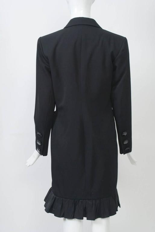 Women's YSL Black Coat Dress with Ruffle For Sale