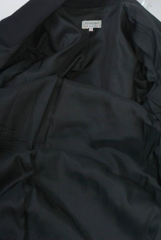 YSL Black Coat Dress with Ruffle For Sale 4