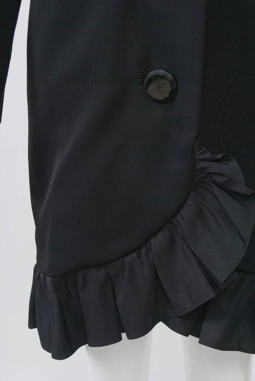 YSL Black Coat Dress with Ruffle For Sale 3