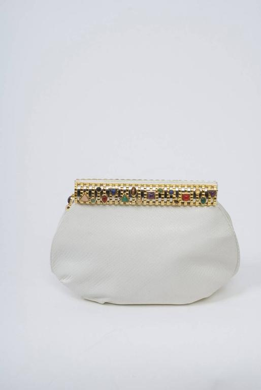 Gray Judith Leiber White Karung Clutch  For Sale