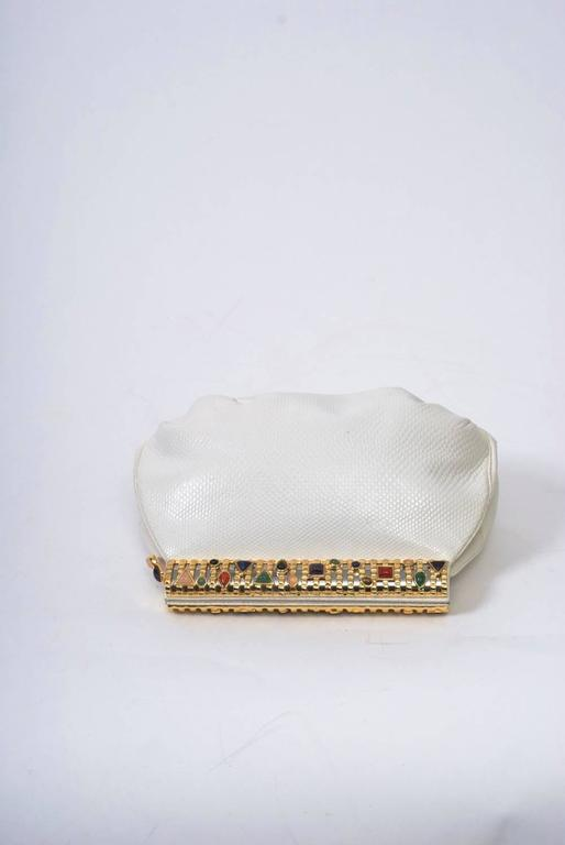 Judith Leiber White Karung Clutch  For Sale 1