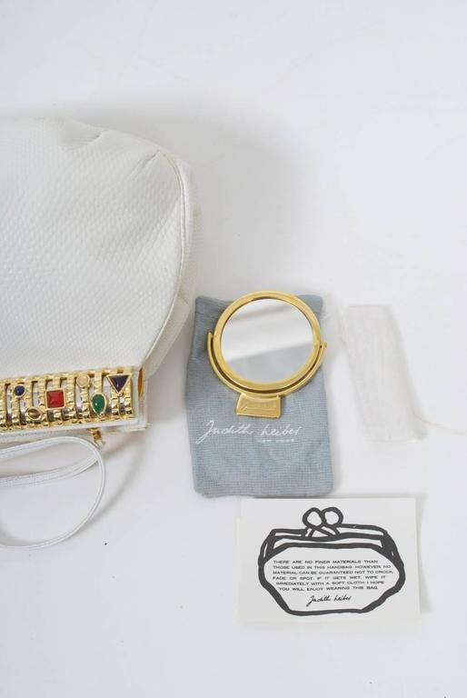 Judith Leiber White Karung Clutch  For Sale 3