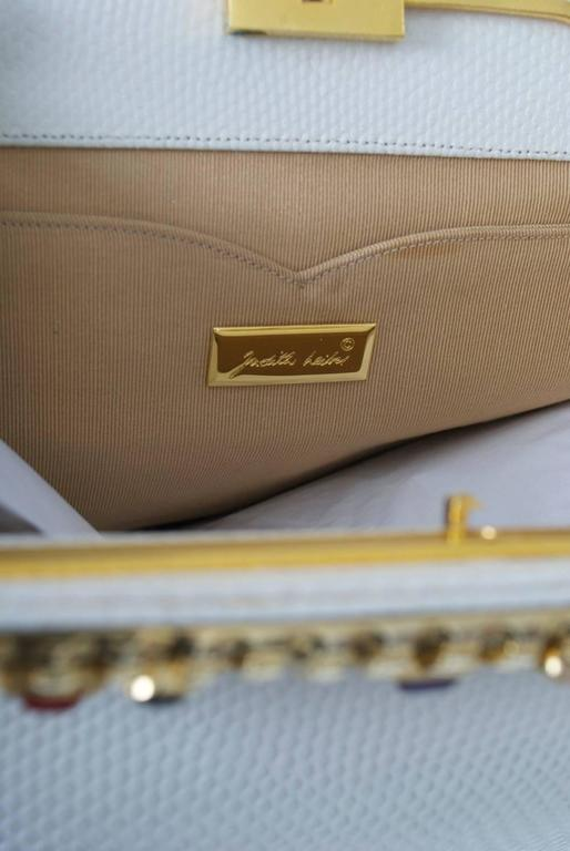 Judith Leiber White Karung Clutch  For Sale 2