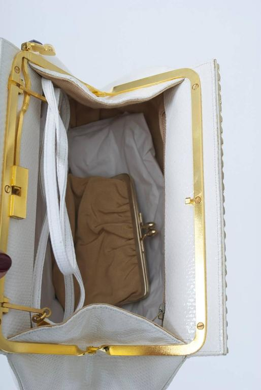Judith Leiber White Karung Clutch  For Sale 4