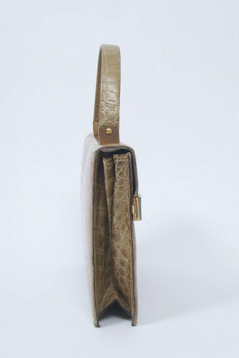 Brown 1960s Crocodile Handbag For Sale