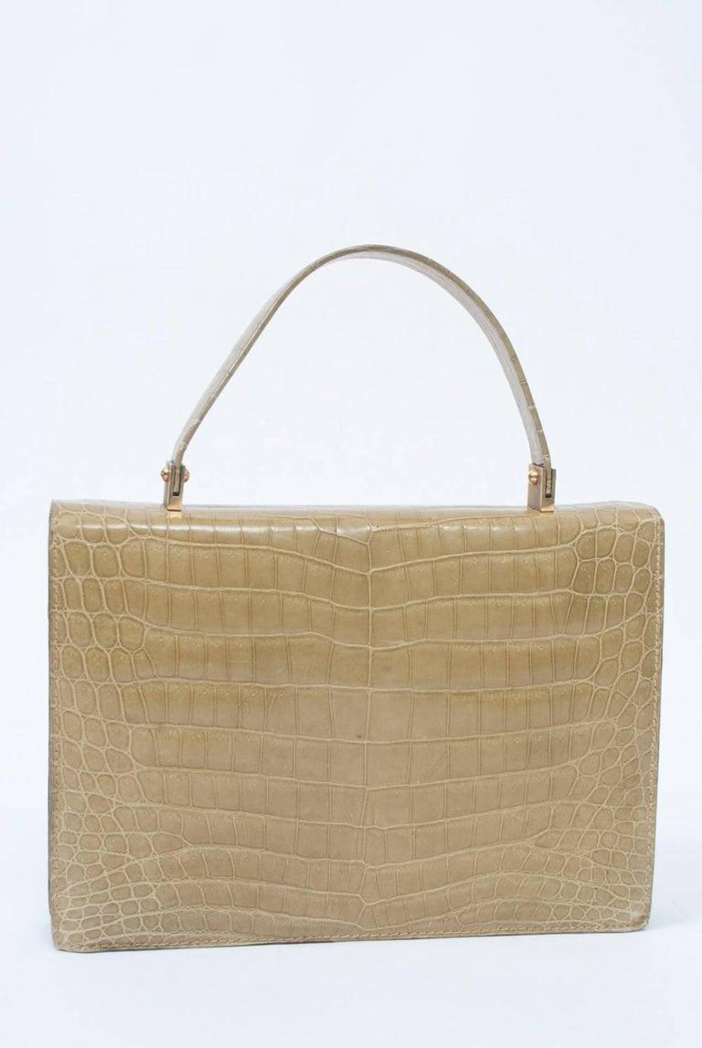 1960s Crocodile Handbag In Excellent Condition For Sale In Alford, MA