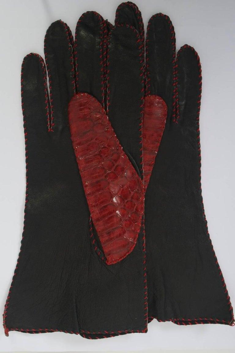 Brown Red Snakeskin Gloves For Sale