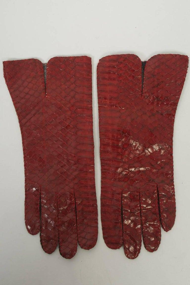 Women's Red Snakeskin Gloves For Sale