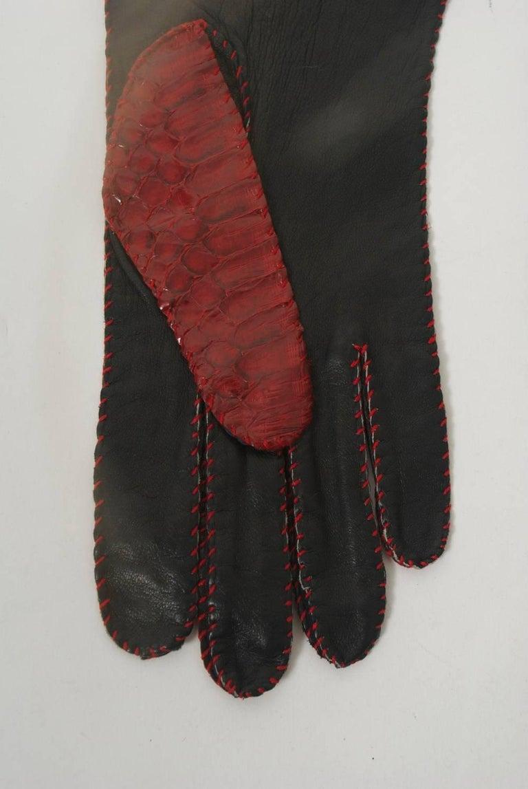 Red Snakeskin Gloves For Sale 3