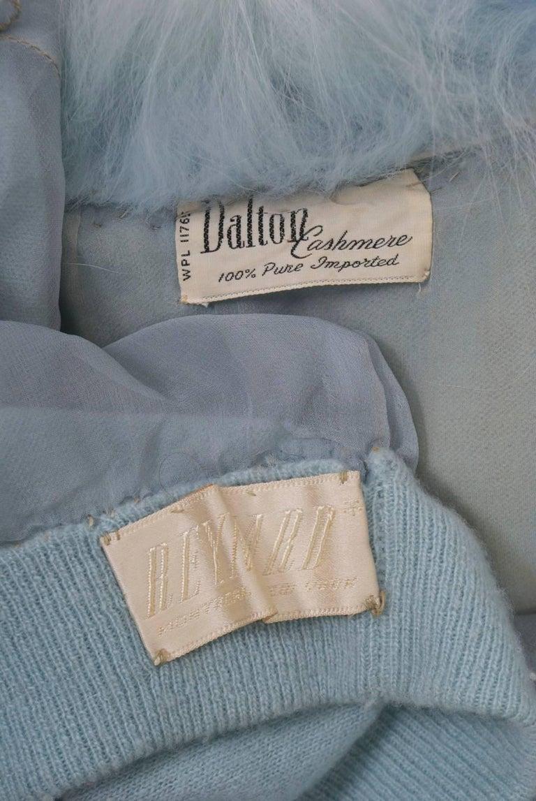 Blue Cashmere/Fox Cardigan For Sale 4