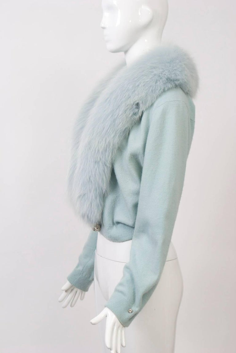 Gray Blue Cashmere/Fox Cardigan For Sale