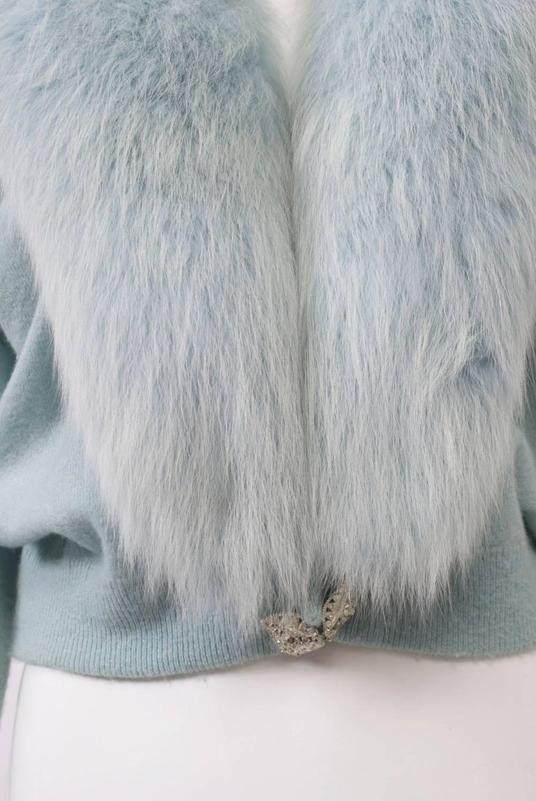 Blue Cashmere/Fox Cardigan In Excellent Condition For Sale In Alford, MA