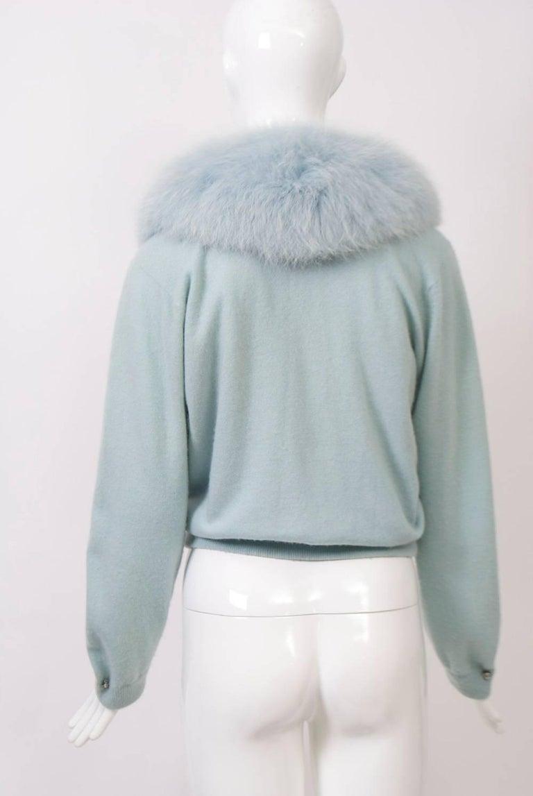 Women's Blue Cashmere/Fox Cardigan For Sale