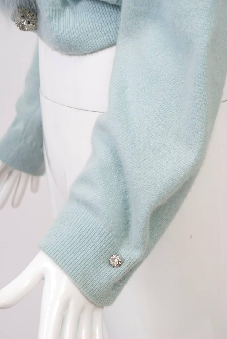 Blue Cashmere/Fox Cardigan For Sale 1