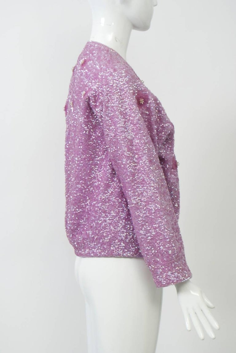 Lavender Sequined Cardigan, Large Size For Sale at 1stdibs