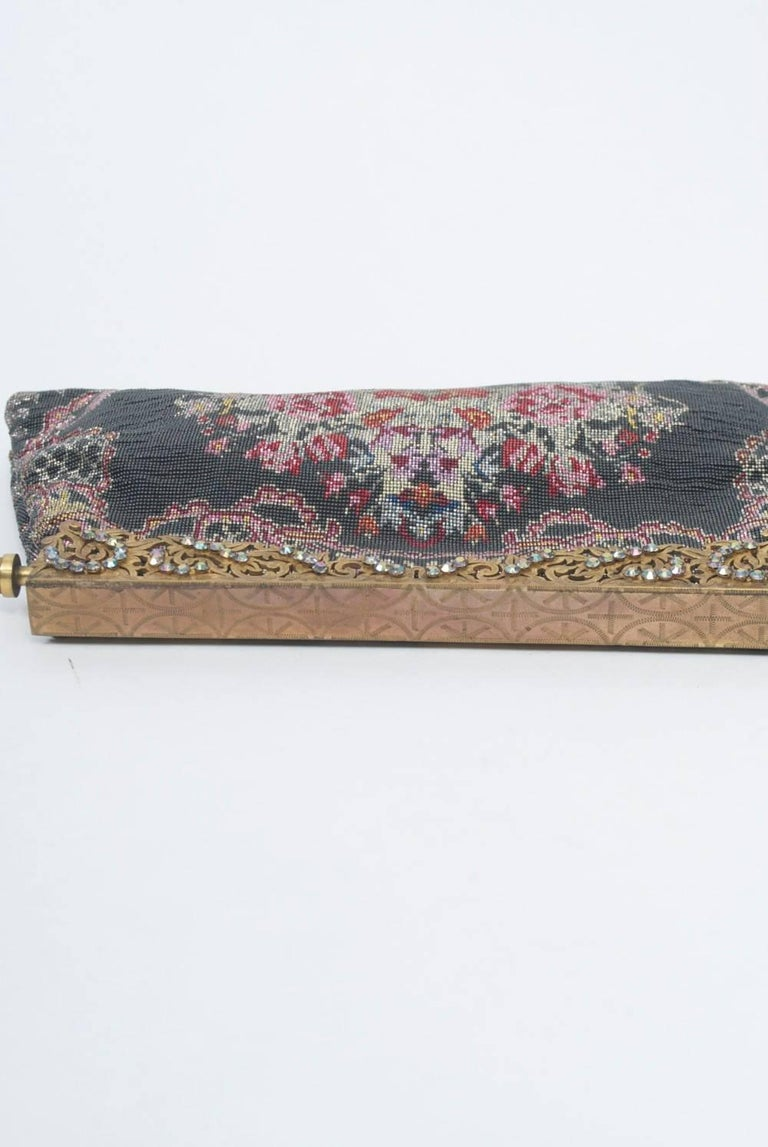 Gray Floral Microbeaded Evening Bag For Sale