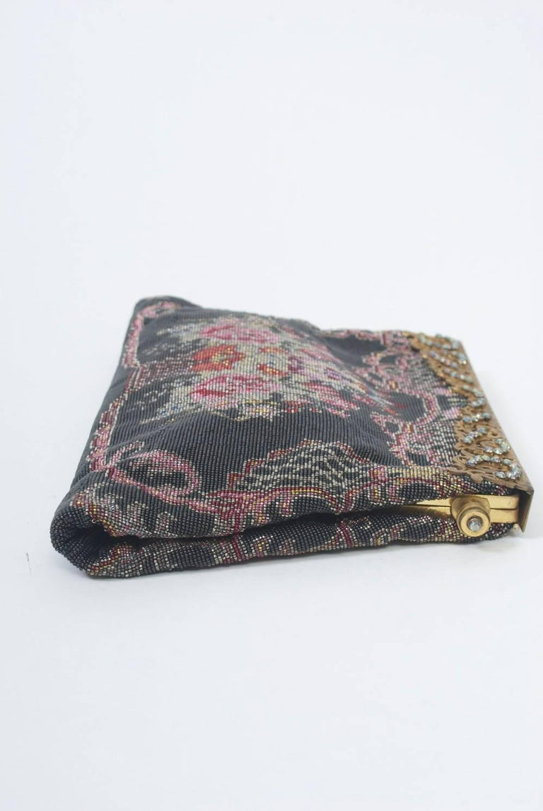 Floral Microbeaded Evening Bag In Excellent Condition For Sale In Alford, MA