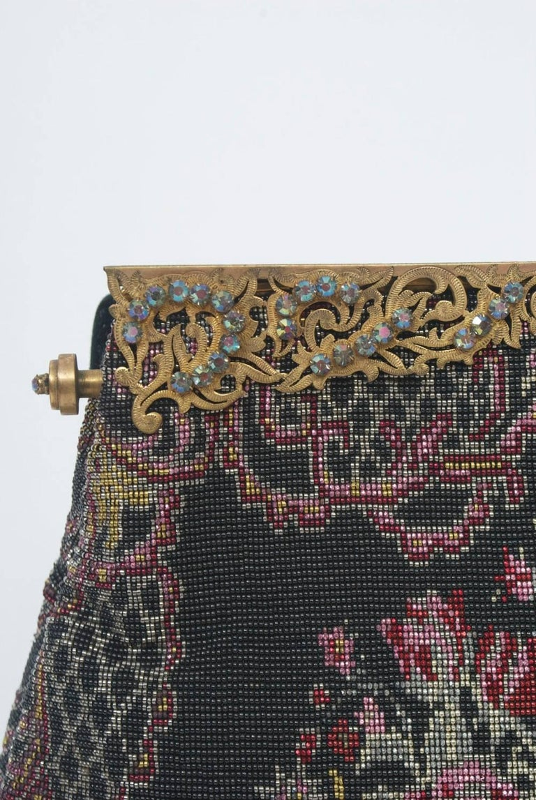 Women's Floral Microbeaded Evening Bag For Sale