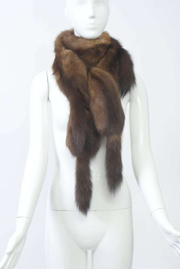 Black Long Sable Scarf For Sale