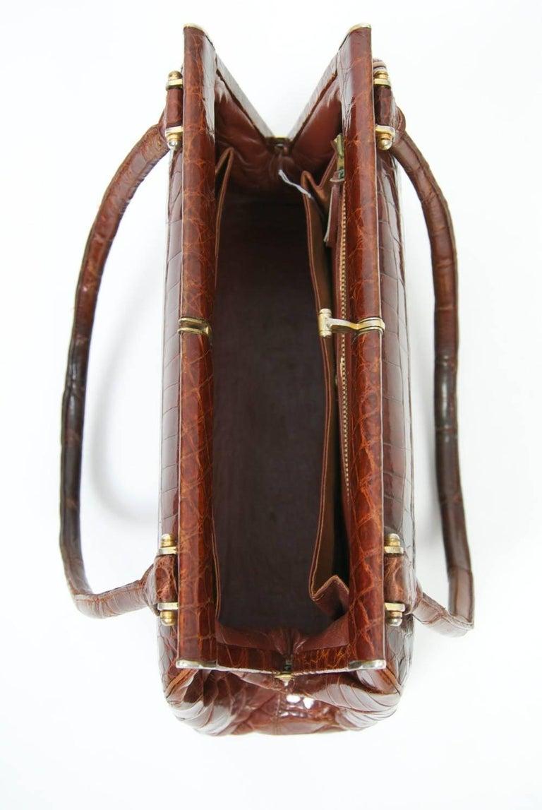 Cognac Crocodile Handbag, France For Sale 3