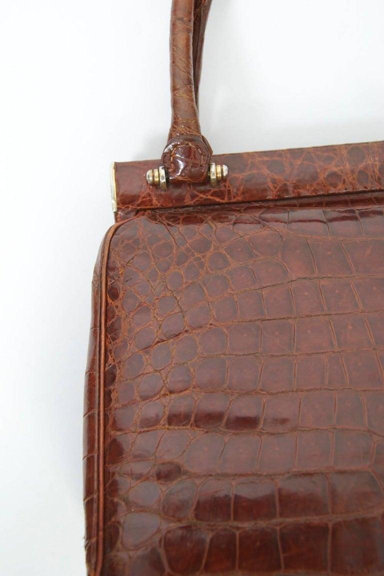 Cognac Crocodile Handbag, France For Sale 5