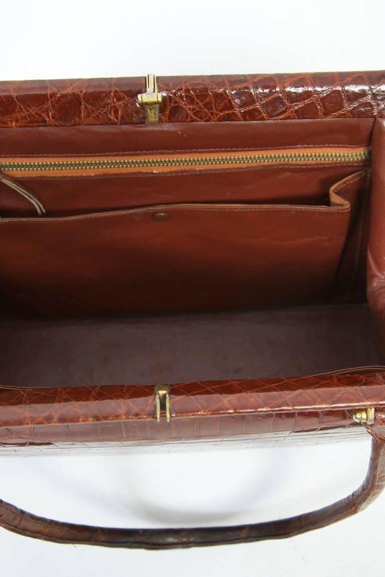 Cognac Crocodile Handbag, France For Sale 4