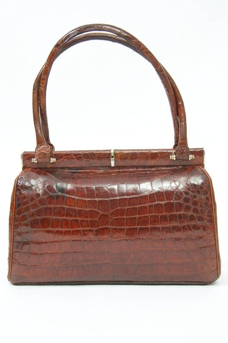 Brown Cognac Crocodile Handbag, France For Sale