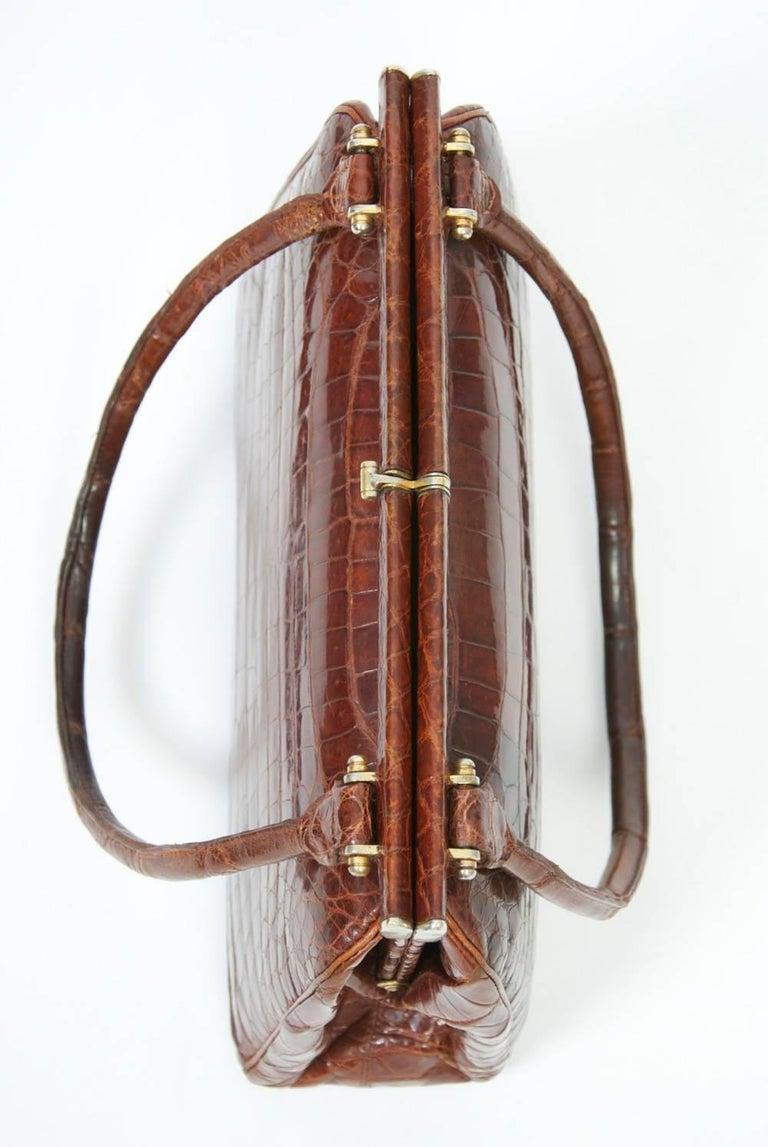 Cognac Crocodile Handbag, France For Sale 1