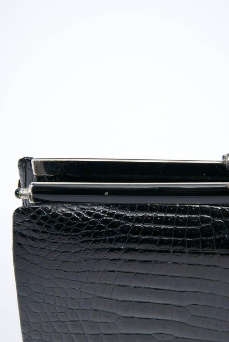 1960s Black Croc Clutch, France 4