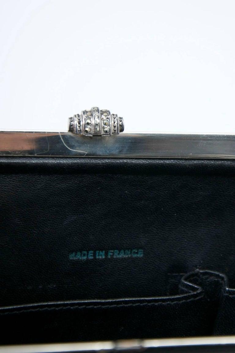 1960s Black Croc Clutch, France 3