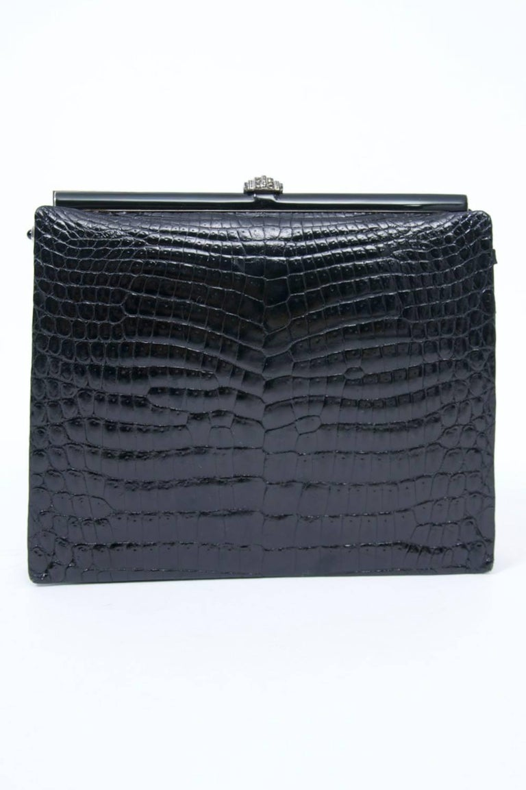 1960s Black Croc Clutch, France In Good Condition In Alford, MA