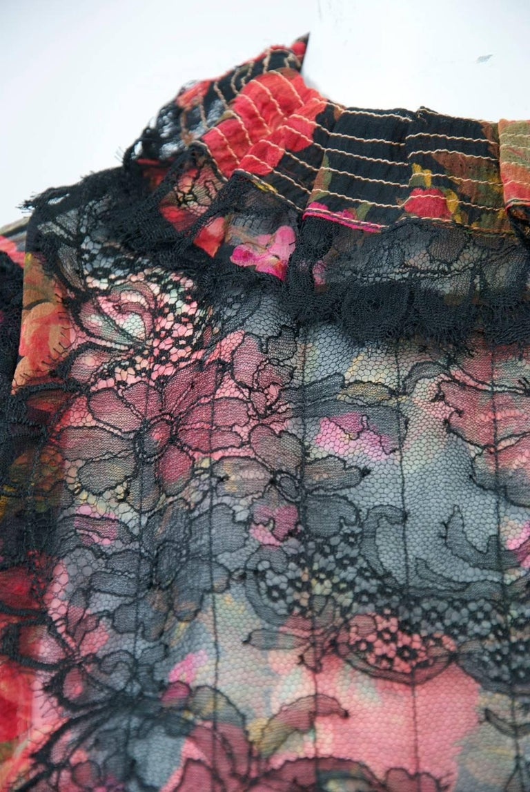 Geoffrey Beene Print Chiffon Ensemble In Excellent Condition For Sale In Alford, MA