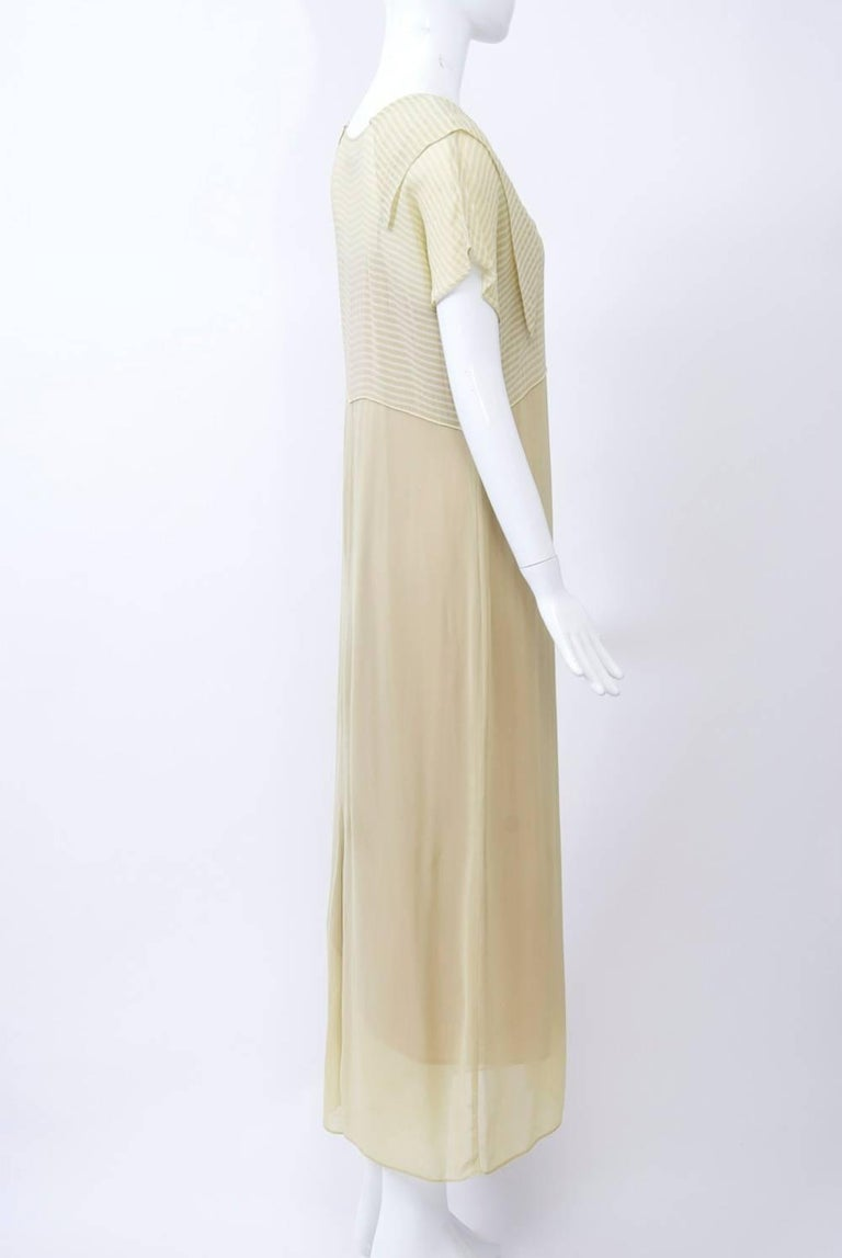 Victoria Falls Sheer Beige Midi Dress and Slip In Excellent Condition For Sale In Alford, MA