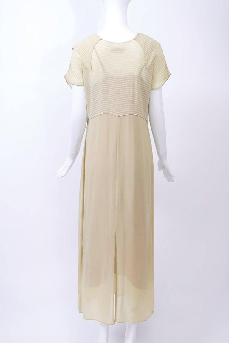Women's Victoria Falls Sheer Beige Midi Dress and Slip For Sale