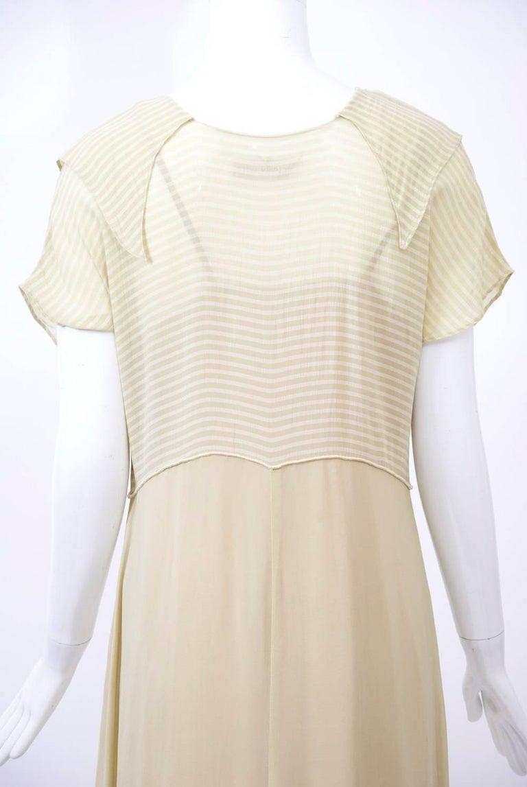 Victoria Falls Sheer Beige Midi Dress and Slip For Sale 1