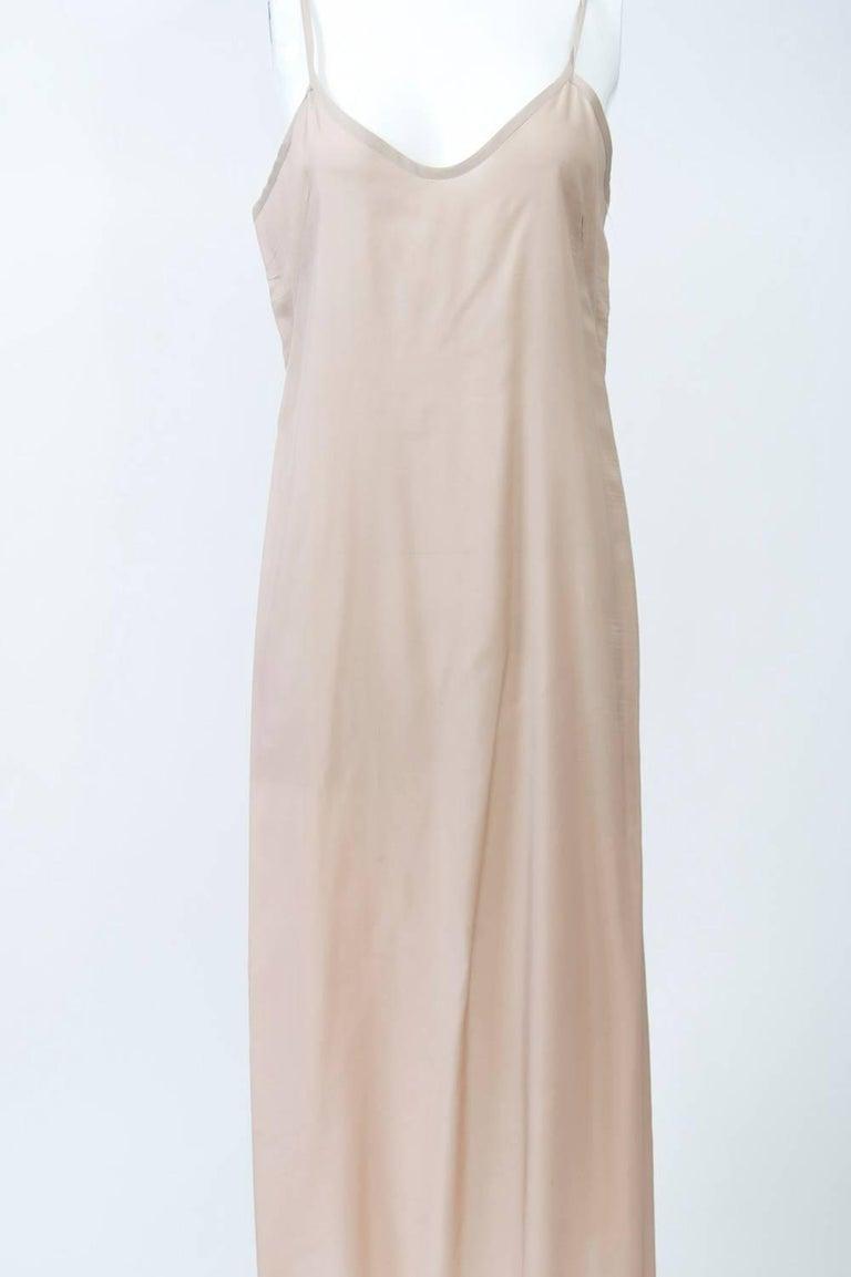 Victoria Falls Sheer Beige Midi Dress and Slip For Sale 3