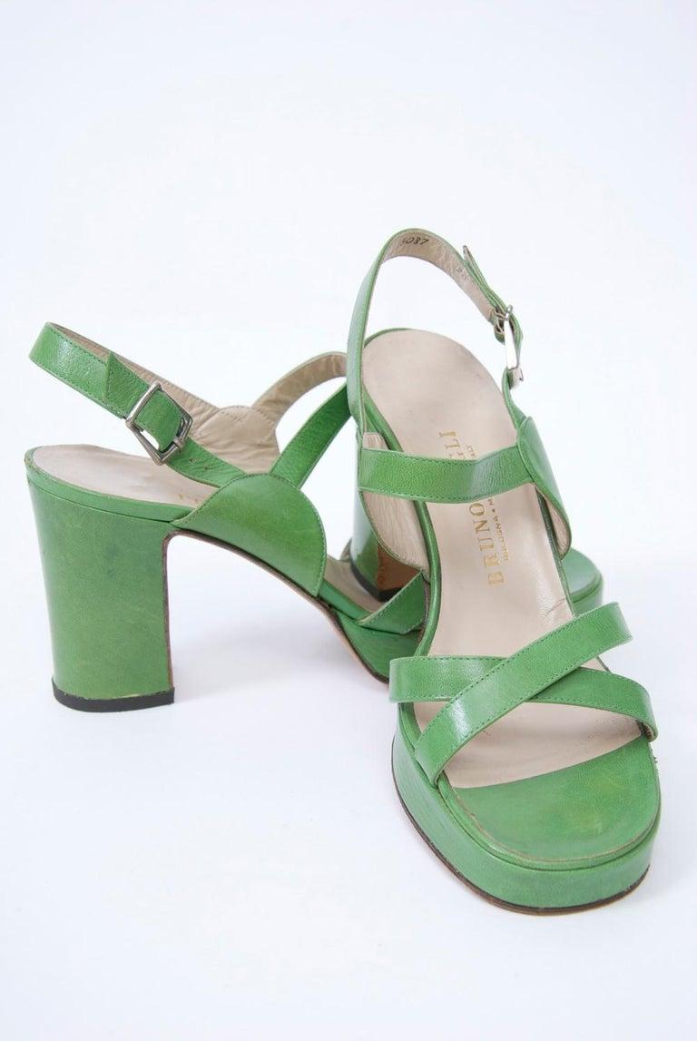 Gray 1970s Bruno Magli Platform Sandals For Sale
