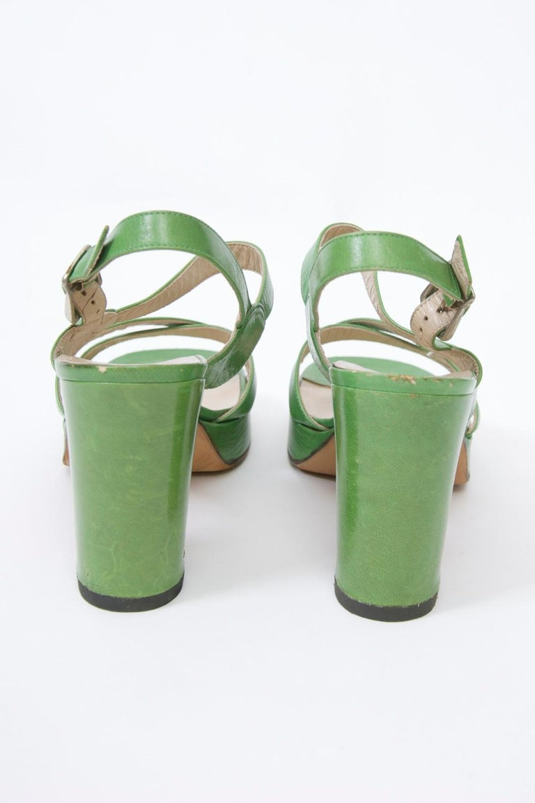 1970s Bruno Magli Platform Sandals In Good Condition For Sale In Alford, MA