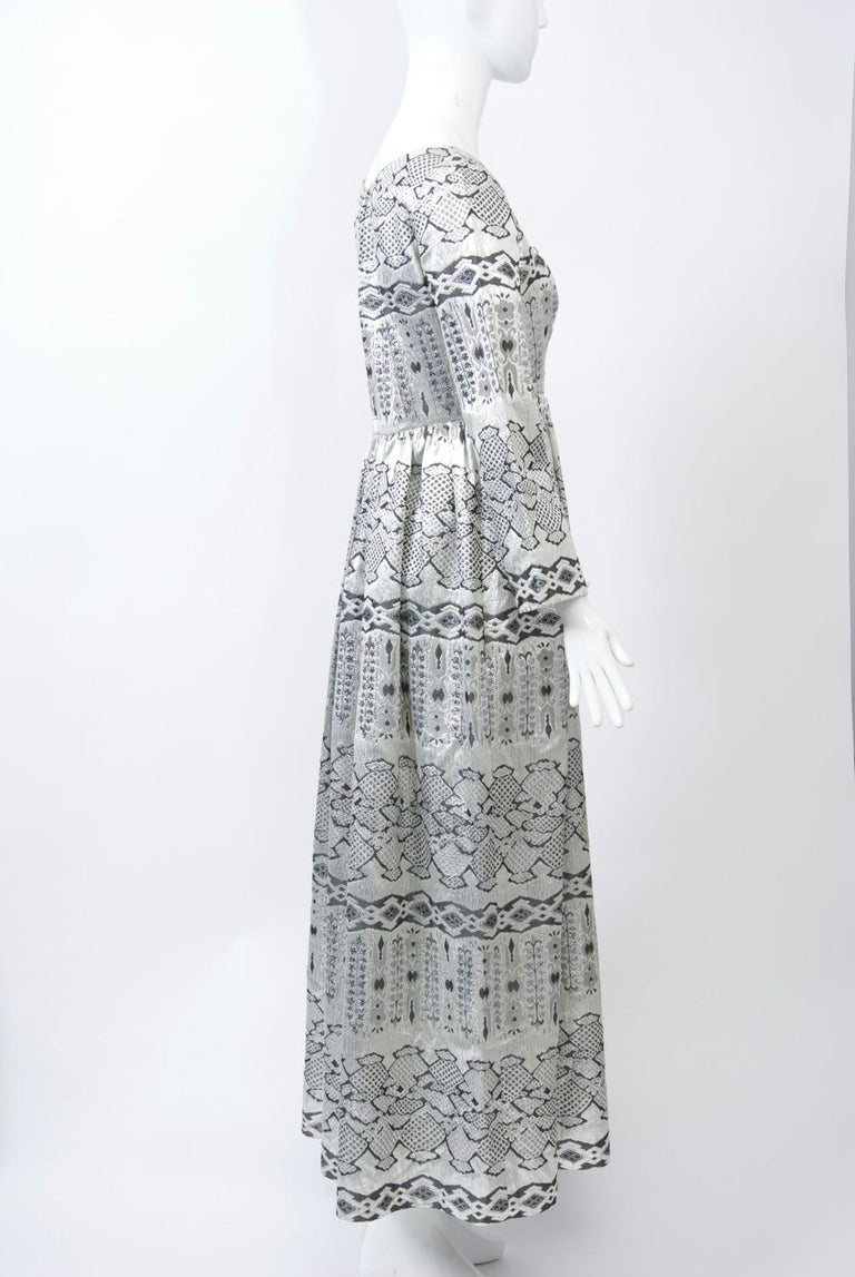 a81866968d13 1960s Brocade Empire Gown In Excellent Condition For Sale In Alford, MA